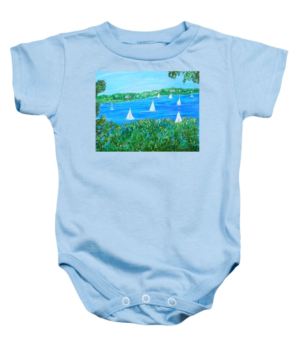 Northern Scene Baby Onesie featuring the painting Wake Up Maggie by Sara Credito