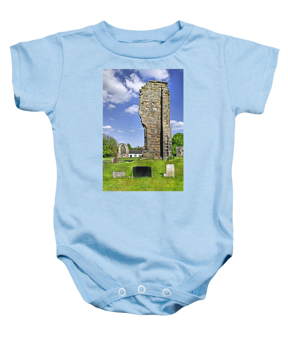 Ticknall Baby Onesie featuring the photograph West Wall Remains - Ticknall Old Church by Rod Johnson
