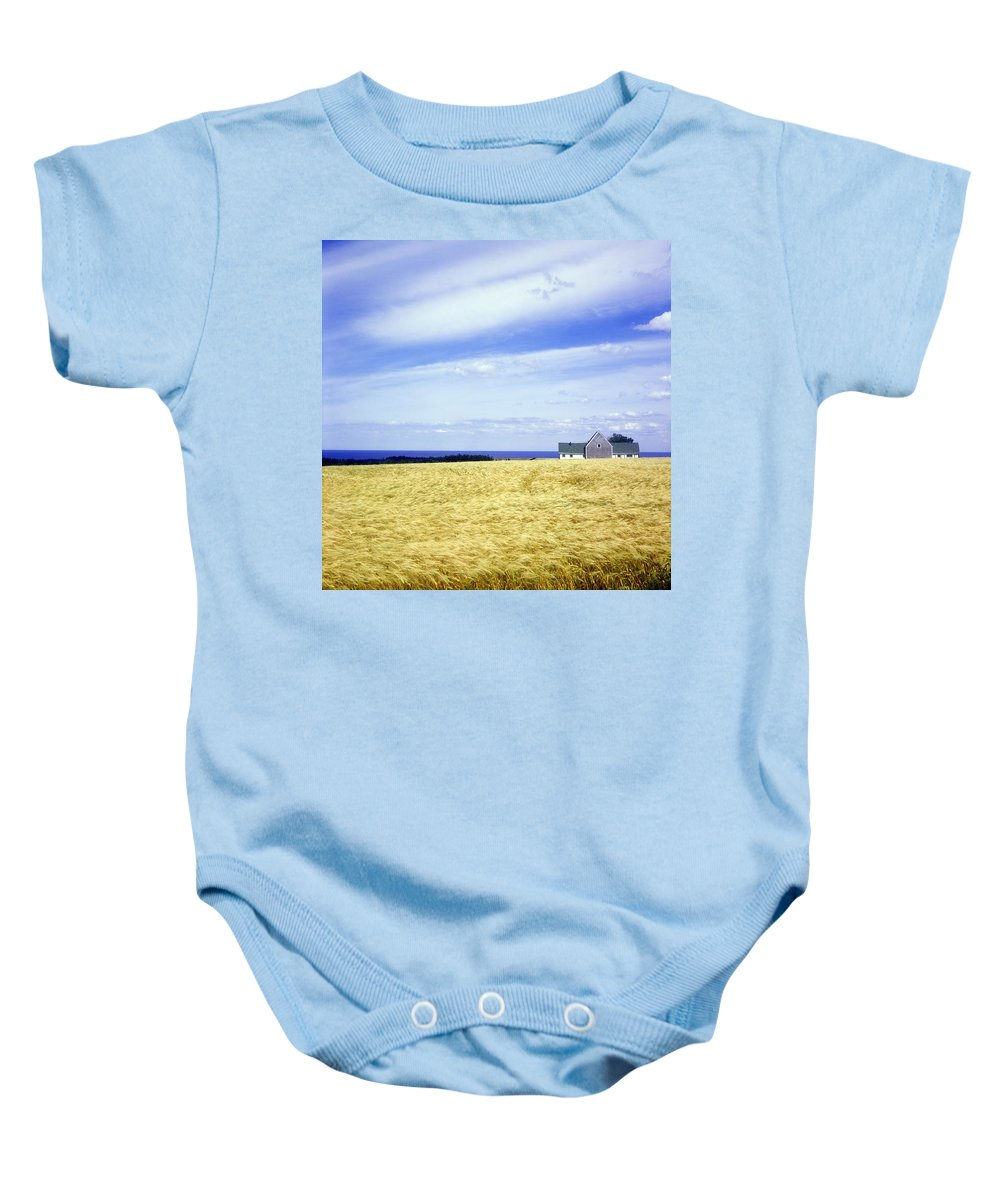 Atlantic Canada Baby Onesie featuring the photograph Wheat Field by David Chapman