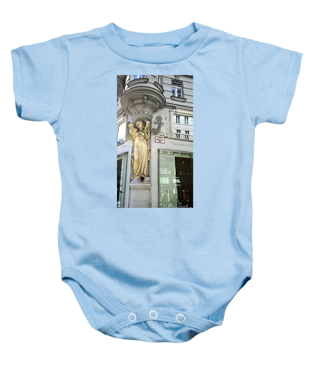 Architecture Baby Onesie featuring the photograph When Is Lunch Break by Madeline Ellis