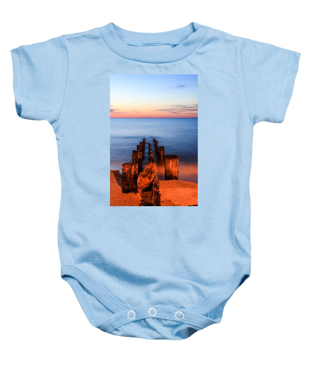 Sunrise Baby Onesie featuring the photograph While You Were Sleeping by Kaye Seaboch