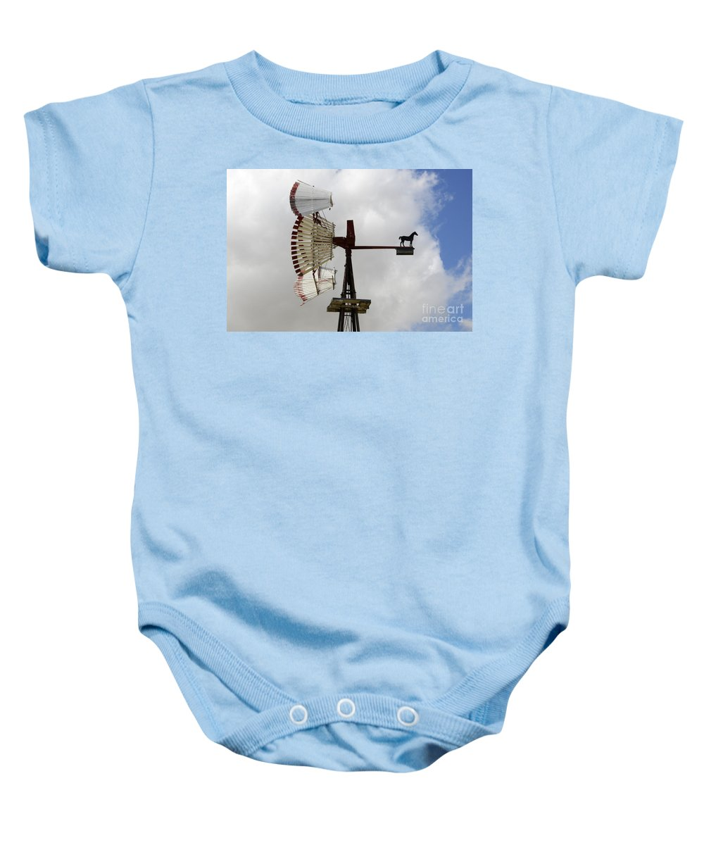 Windmill Baby Onesie featuring the photograph Windmill 9 by Bob Christopher