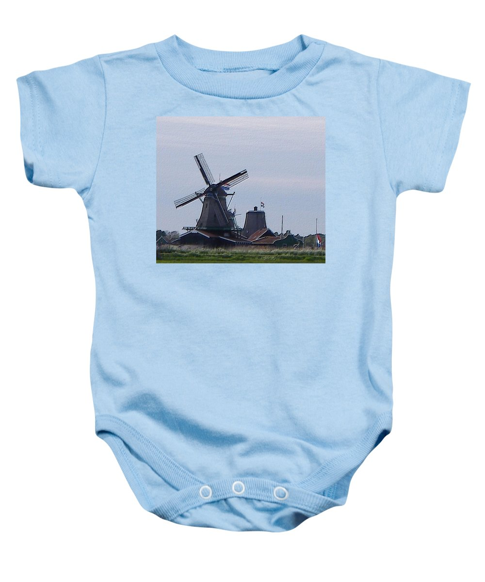 Windmill Baby Onesie featuring the photograph Windmill by Manuela Constantin