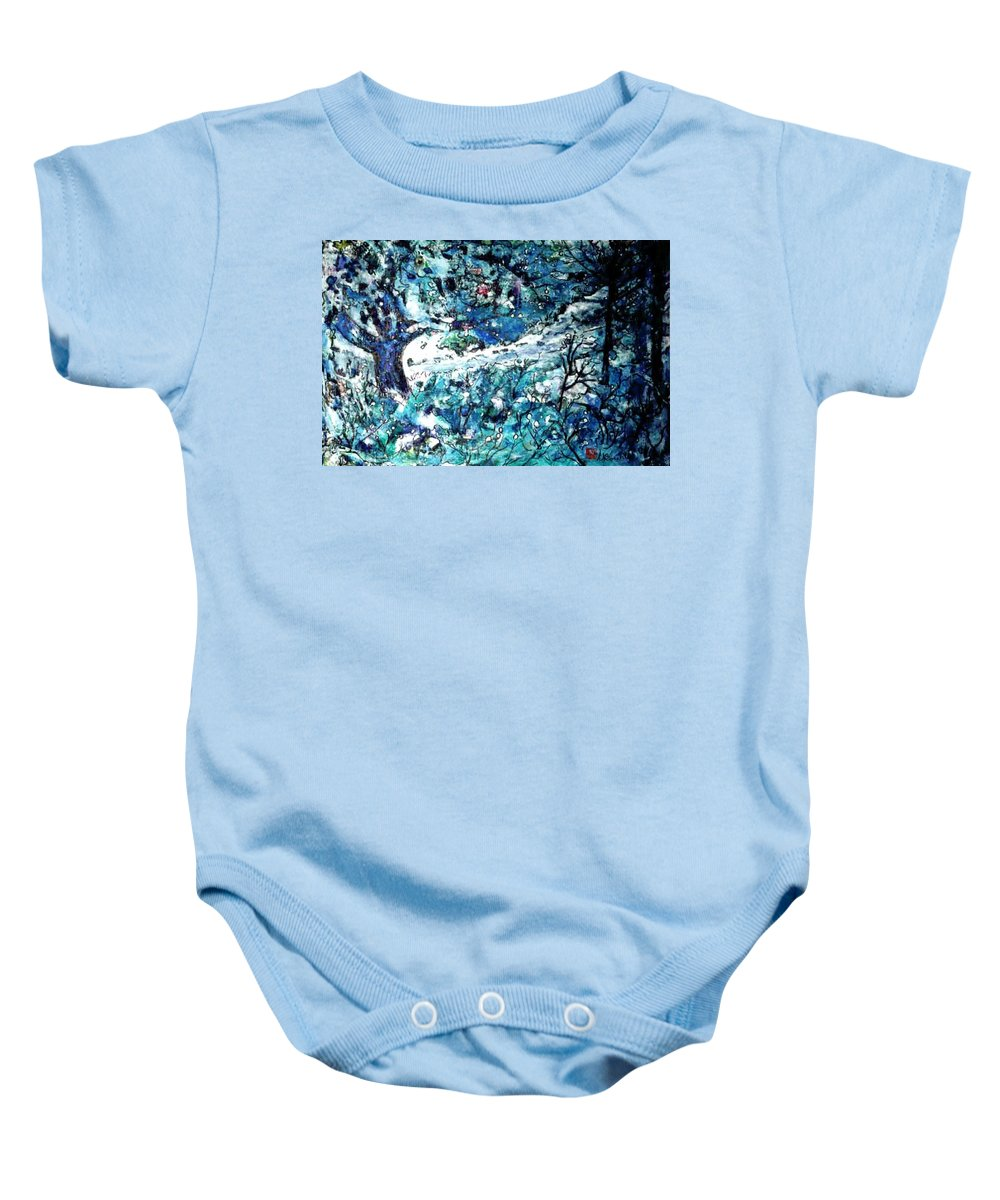 Watercolor Baby Onesie featuring the painting Winter Apple Tree by Norma Boeckler