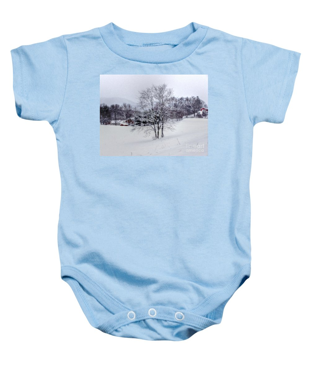 Alone Baby Onesie featuring the photograph Winter Landscape 6 by Dan Stone