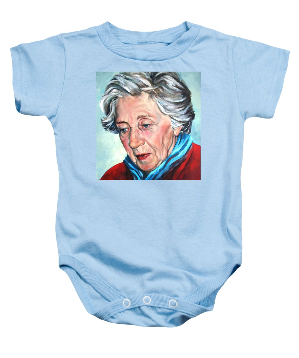 Elderly Woman Portrait Baby Onesie featuring the painting Winter Portrait Sophia by Jolante Hesse