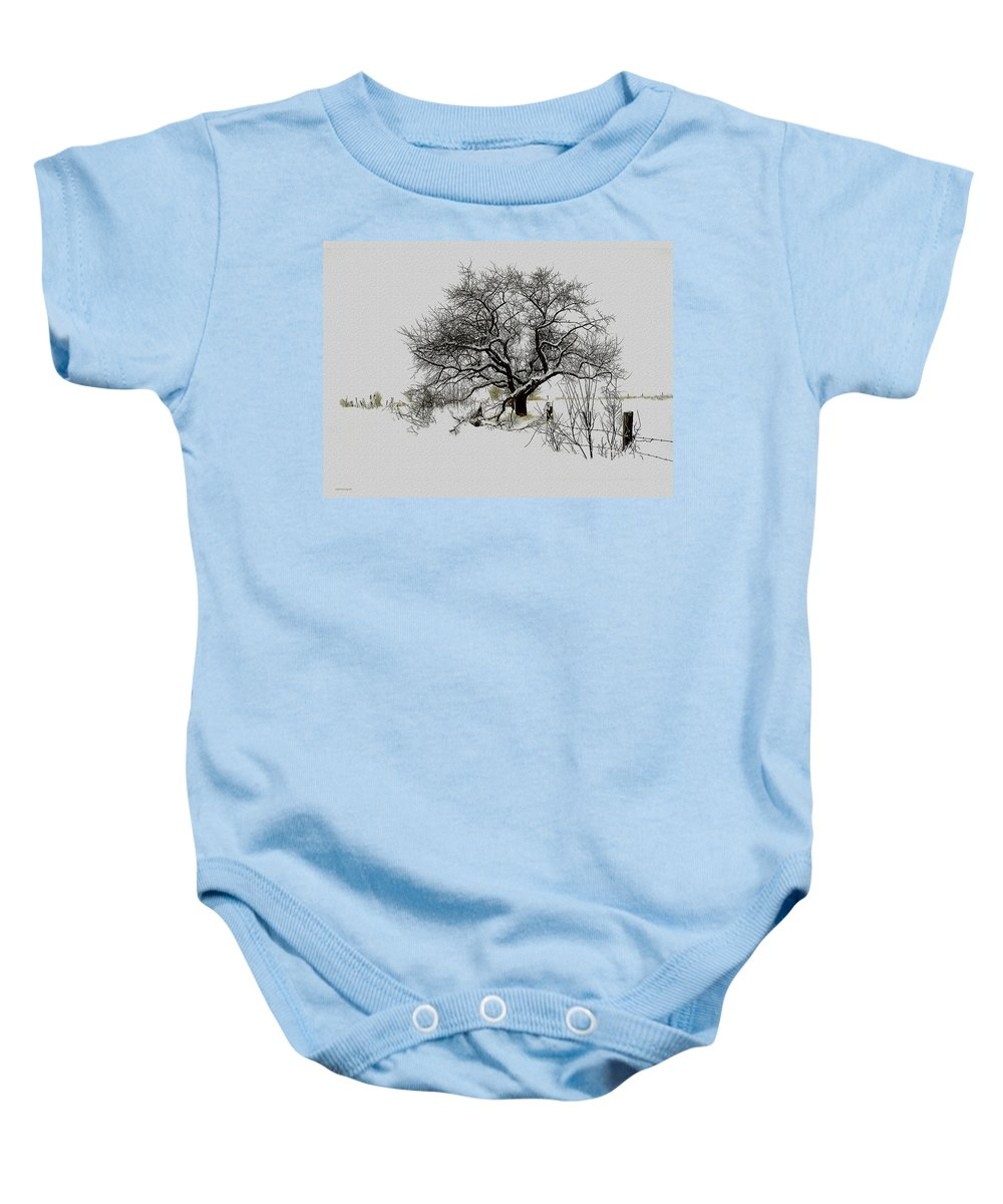 Landscape Baby Onesie featuring the photograph Winter Sentinel by Ron Jones