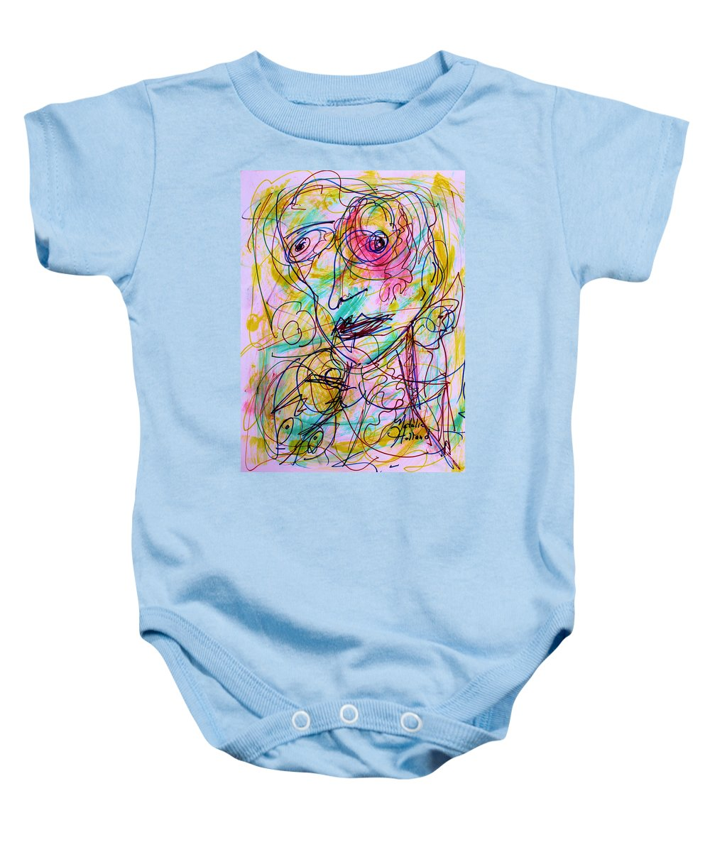 Expressionism Baby Onesie featuring the drawing Wired For Joy by Natalie Holland