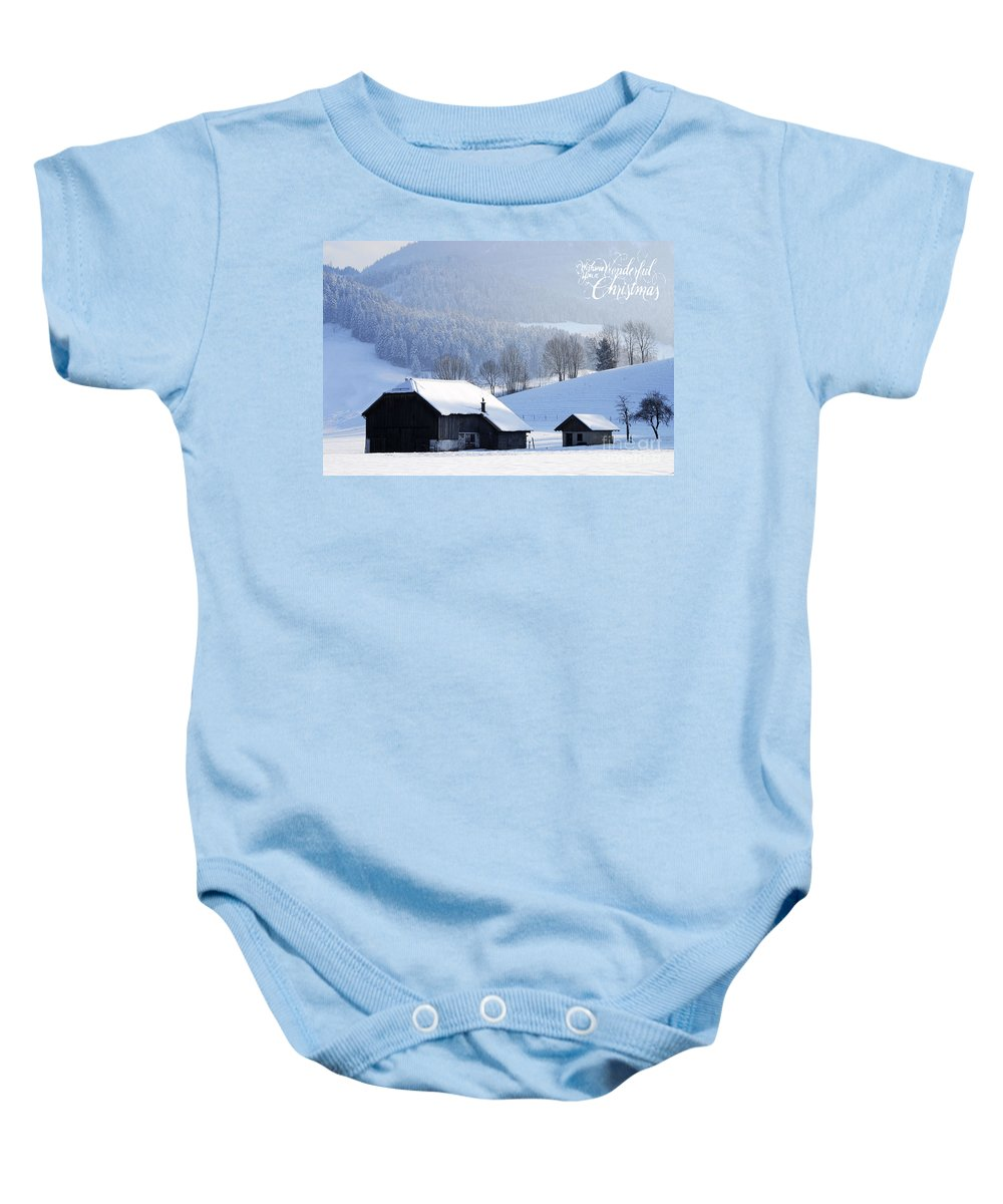 Winter Baby Onesie featuring the photograph Wishing You A Wonderful Christmas by Sabine Jacobs