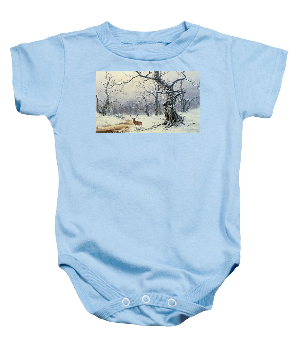 Winter Scene; Stag; Deer; Snow Baby Onesie featuring the painting A Stag In A Wooded Landscape by Nils Hans Christiansen
