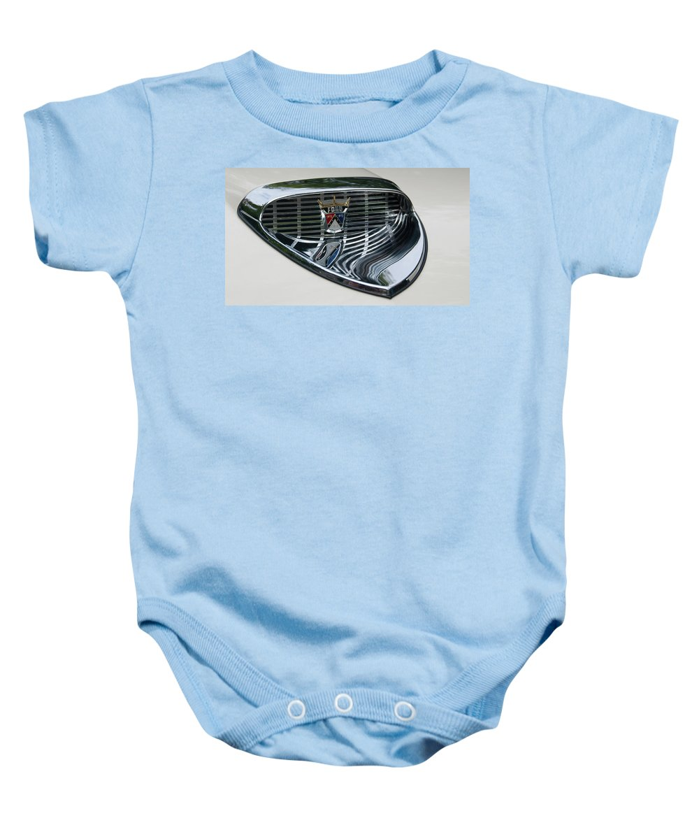 Antique Car Baby Onesie featuring the photograph Ford Chrome 13124 by Guy Whiteley