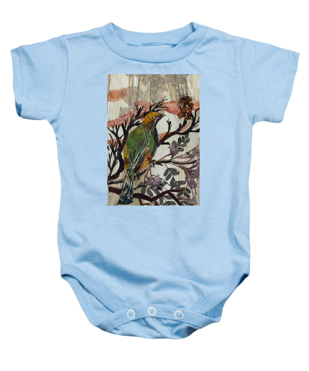 Green Bird Baby Onesie featuring the mixed media Green-yellow Bird by Basant Soni