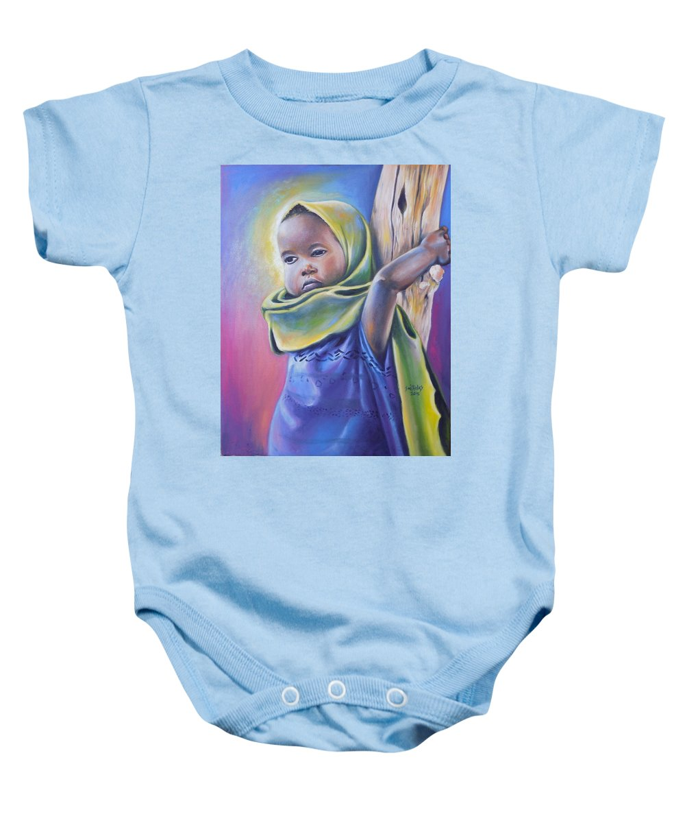 Blue Baby Onesie featuring the painting Hope by Olaoluwa Smith