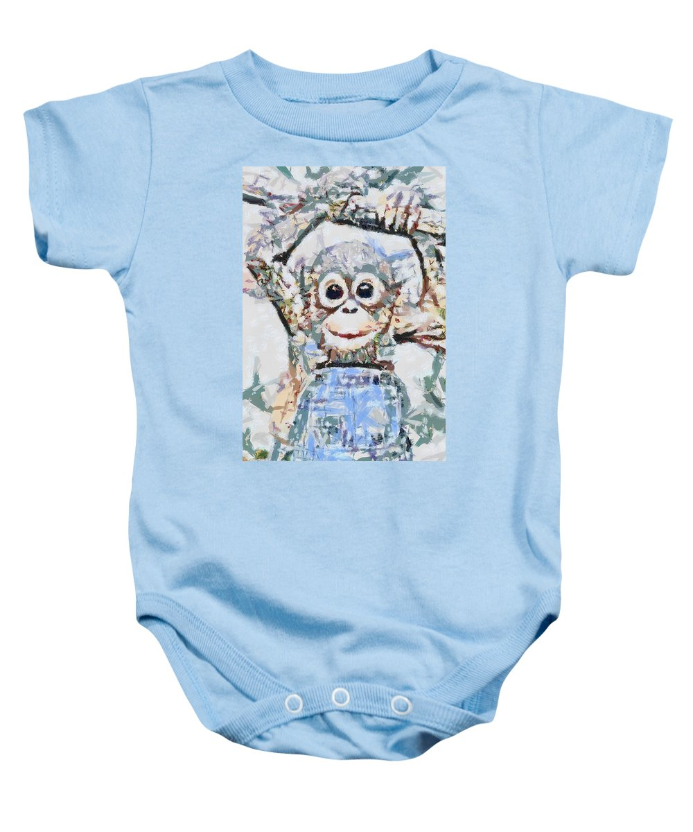 Monkey Rainbow Splattered Fragmented Blue Baby Onesie featuring the digital art Monkey Rainbow Splattered Fragmented Blue by Catherine Lott