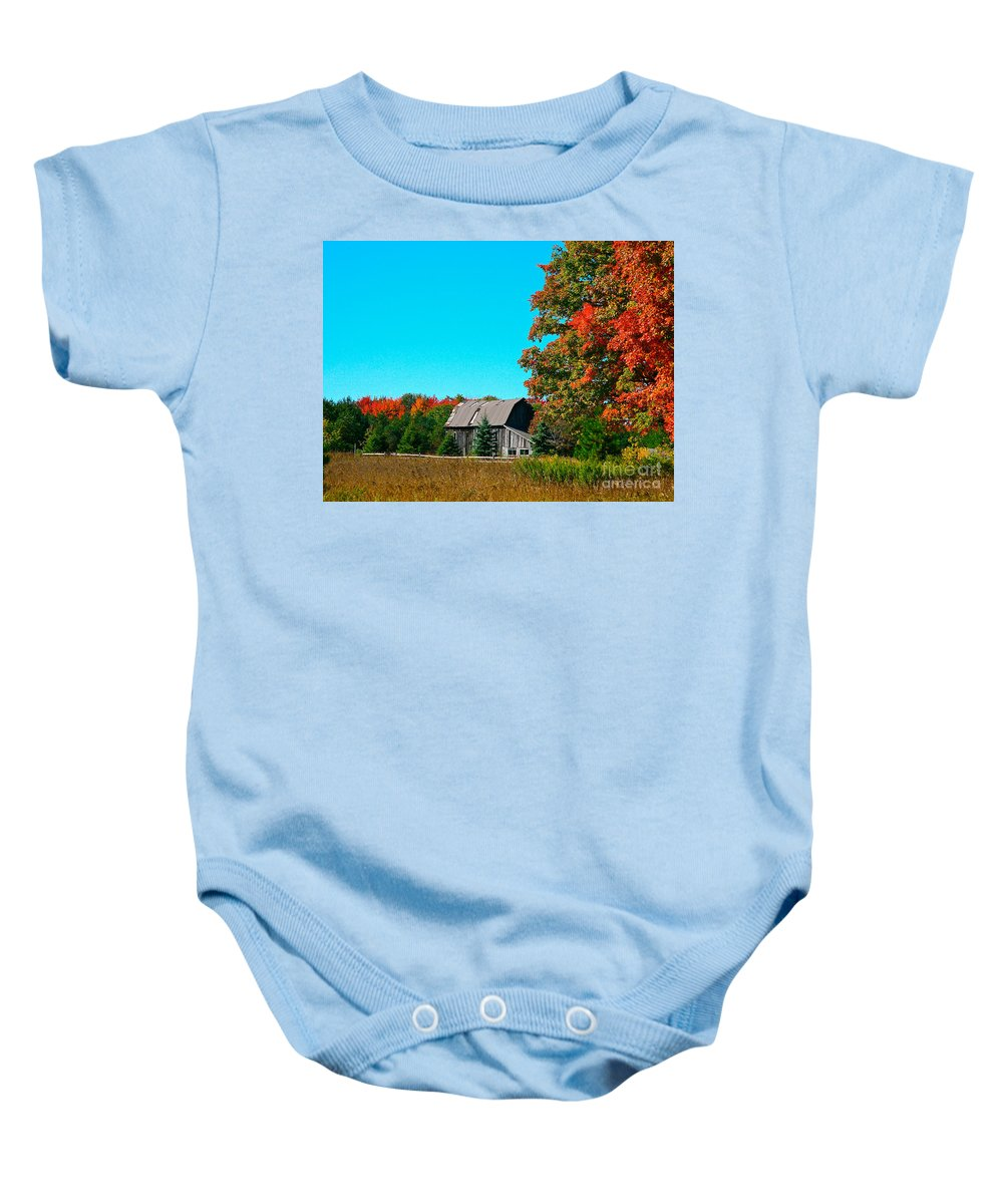Old Barn Baby Onesie featuring the photograph Old Barn In Fall Color by Robert Pearson