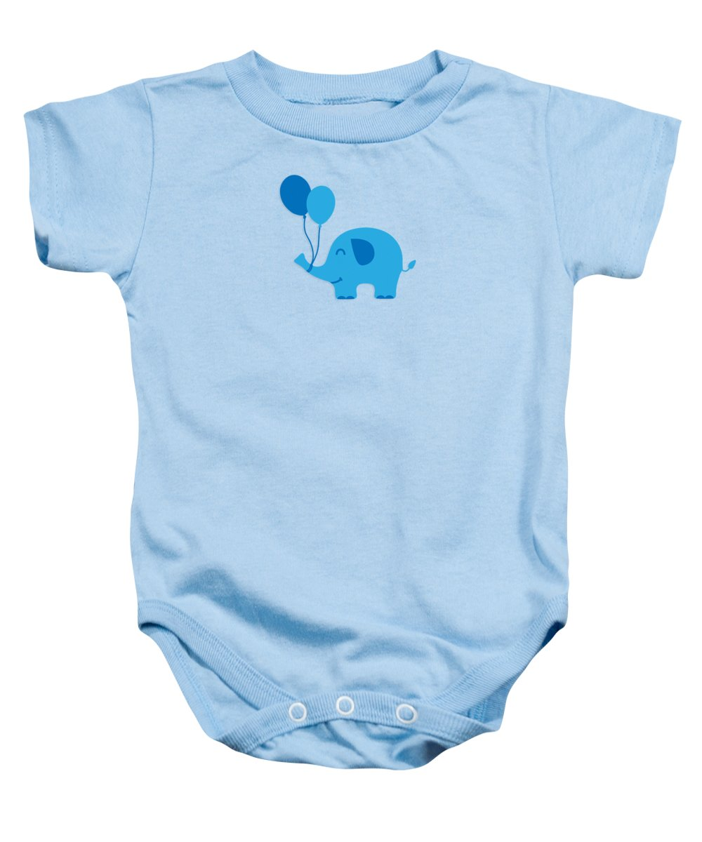 Baby Baby Onesie featuring the digital art Sweet Funny Baby Elephant with Balloons by Philipp Rietz