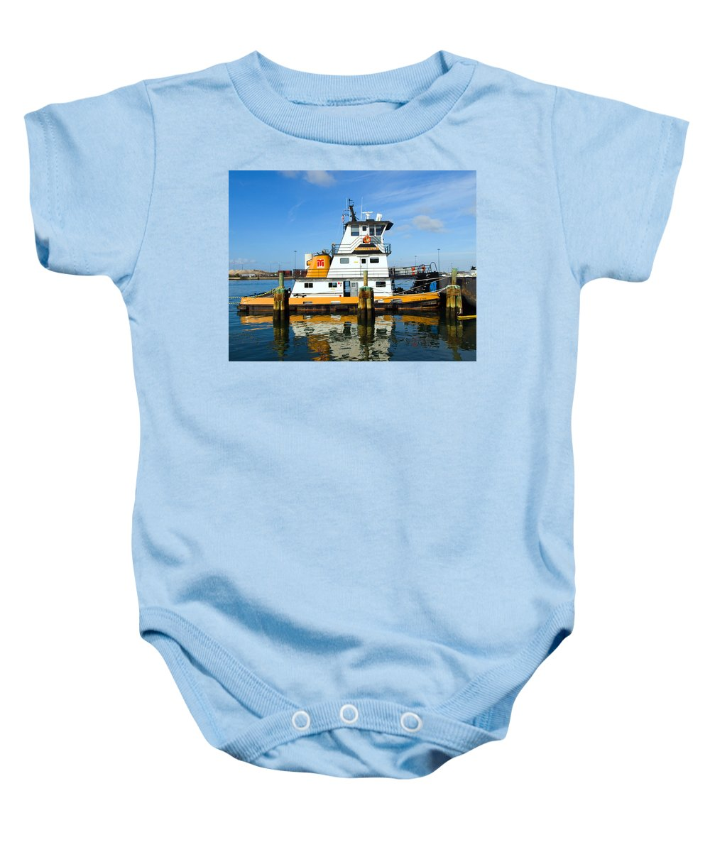 Florida; East; Space; Coast; Tug; Boat; Tugboat; Tow; Towboat; Pusher; Pushes; Push; Cargo; Fuel; Oi Baby Onesie featuring the photograph  Tug Indian River Is Part Of The Scene At Port Canvaeral Florida by Allan Hughes