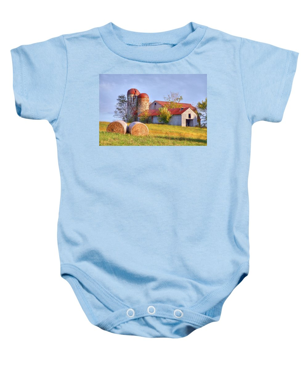 Barn Baby Onesie featuring the photograph Two by Mitch Cat