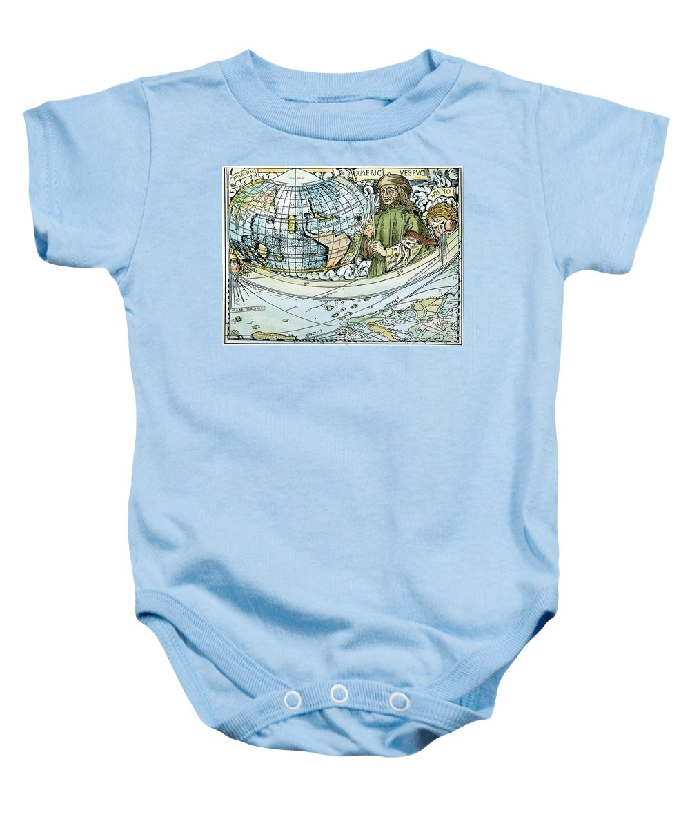 1507 Baby Onesie featuring the painting Amerigo Vespucci (1454-1512) by Granger