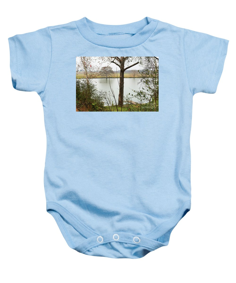 Trees.lake Baby Onesie featuring the photograph 0216 by Jeff Downs