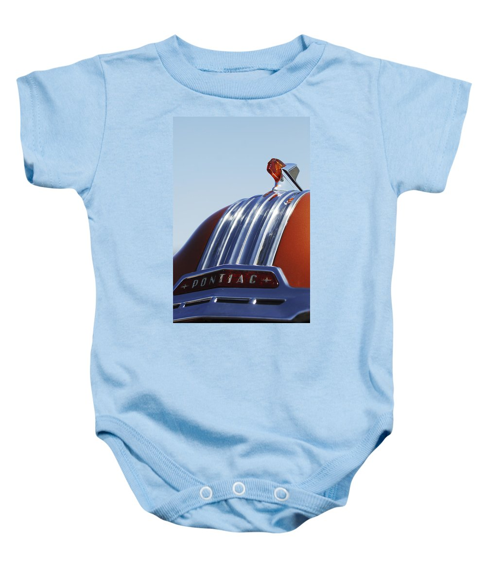 1952 Pontiac Tin Woodie Wagon Baby Onesie featuring the photograph 1952 Pontiac Tin Woodie Wagon Hood Ornament by Jill Reger