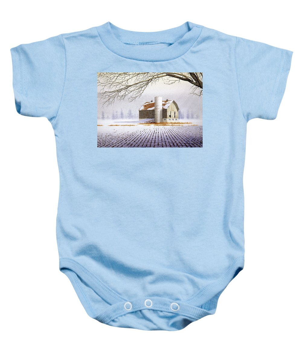 Rural Baby Onesie featuring the painting A Far Distant Feeling by Conrad Mieschke