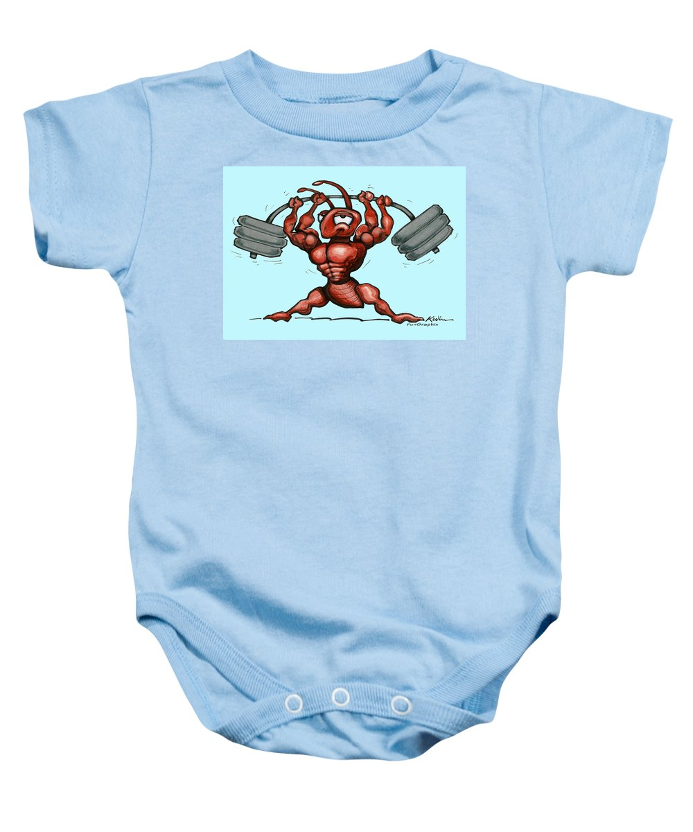 Gym Baby Onesie featuring the greeting card Ant by Kevin Middleton