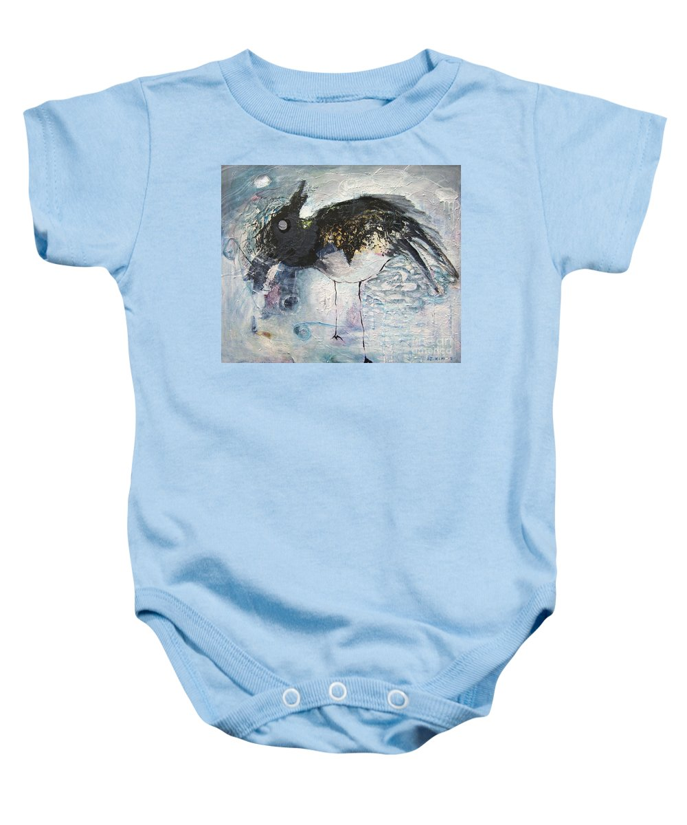 Robin Painting Baby Onesie featuring the painting Baby Robin by Seon-Jeong Kim