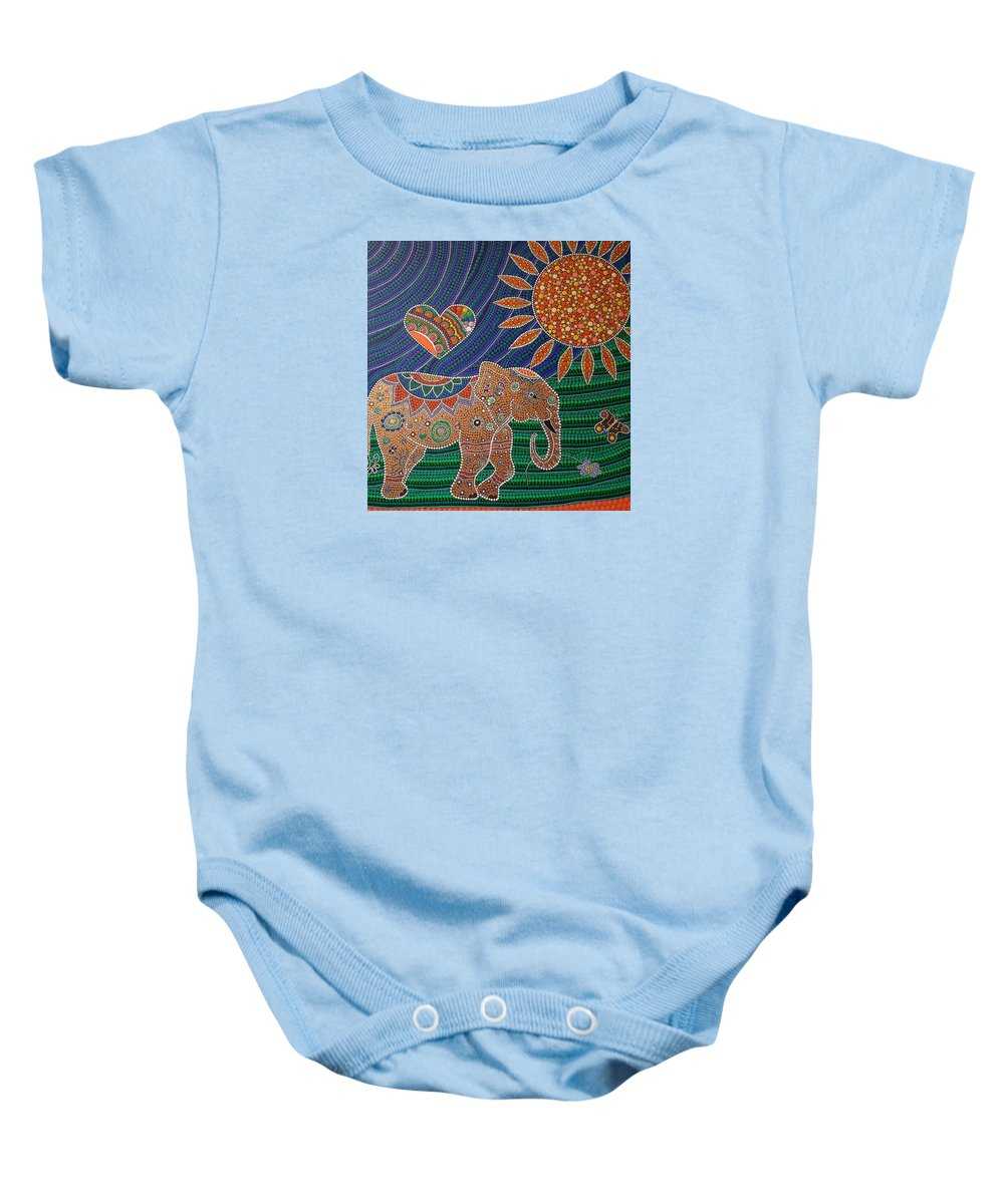 Dot Painting Baby Onesie featuring the painting Blinkitart #7 by Blanka Thomas
