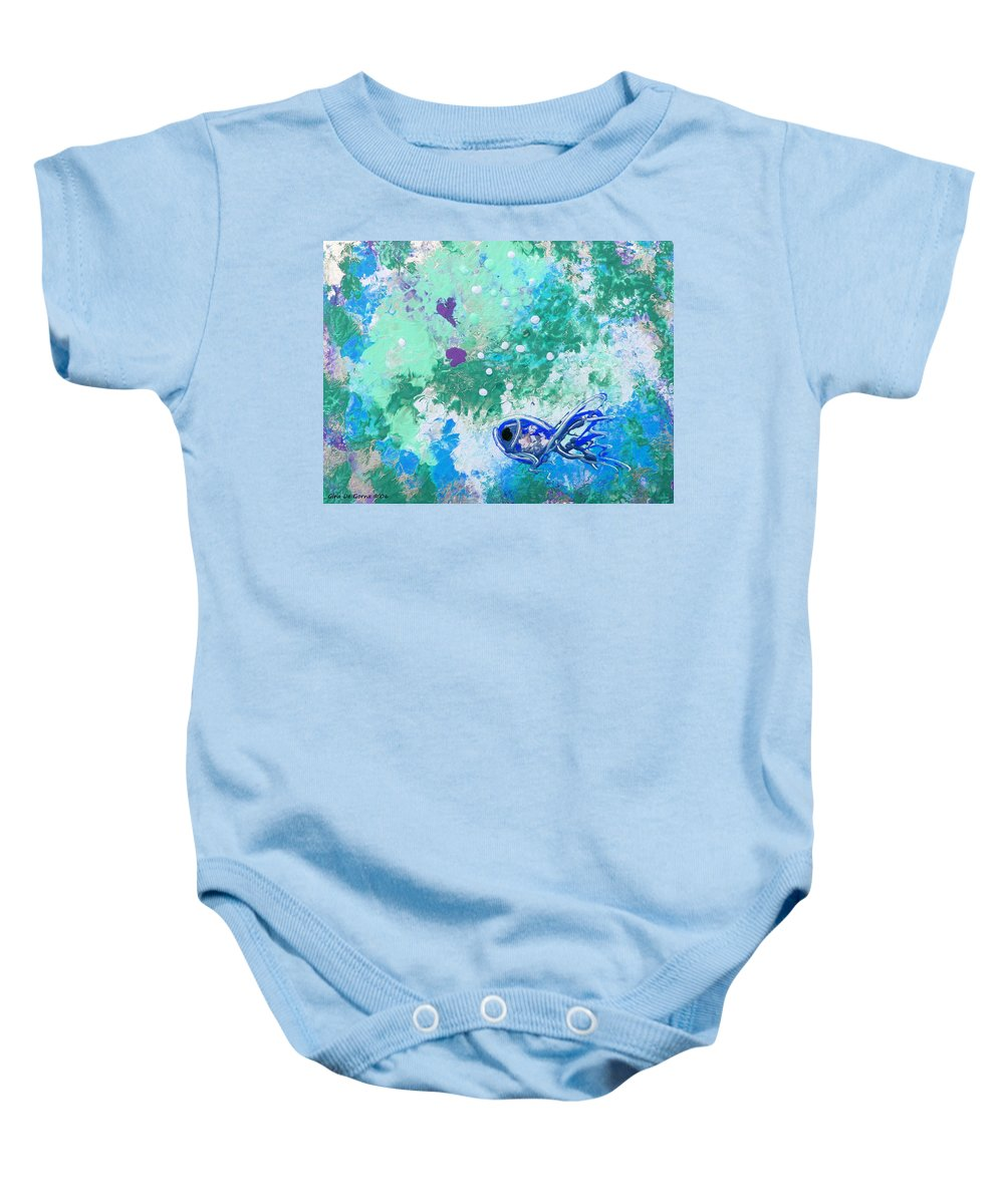 Fish Baby Onesie featuring the painting 1 Blue Fish by Gina De Gorna