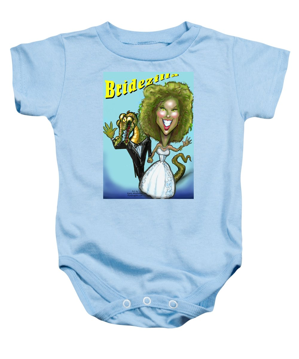Bridezilla Baby Onesie featuring the greeting card Bridezilla by Kevin Middleton