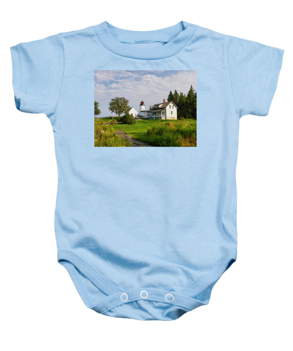 New England Lighthouse Baby Onesie featuring the photograph Burnt Island Lighthouse by Nancie DeMellia