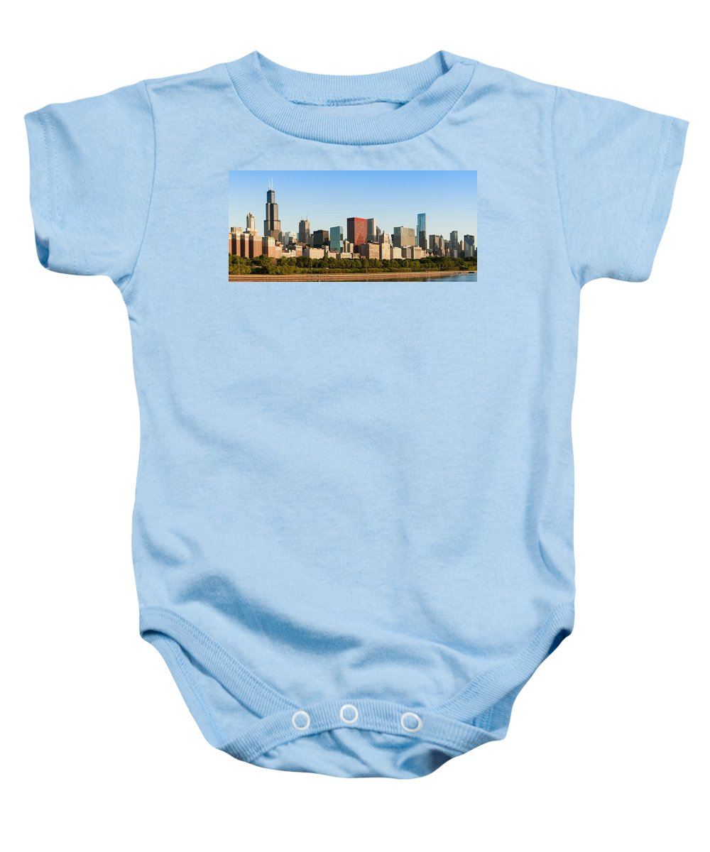 Architecture Baby Onesie featuring the photograph Chicago Downtown At Sunrise by Semmick Photo