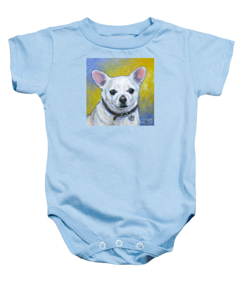 Chihuahua Baby Onesie featuring the painting Chihuahua by Vickie Fears