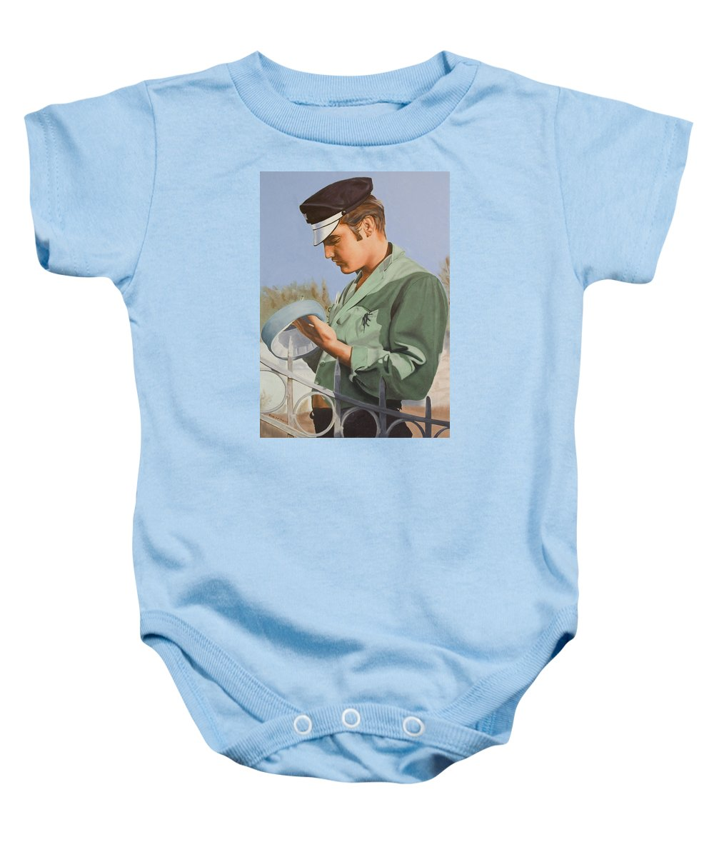 Singer Baby Onesie featuring the painting Elvis Presley by Rob De Vries