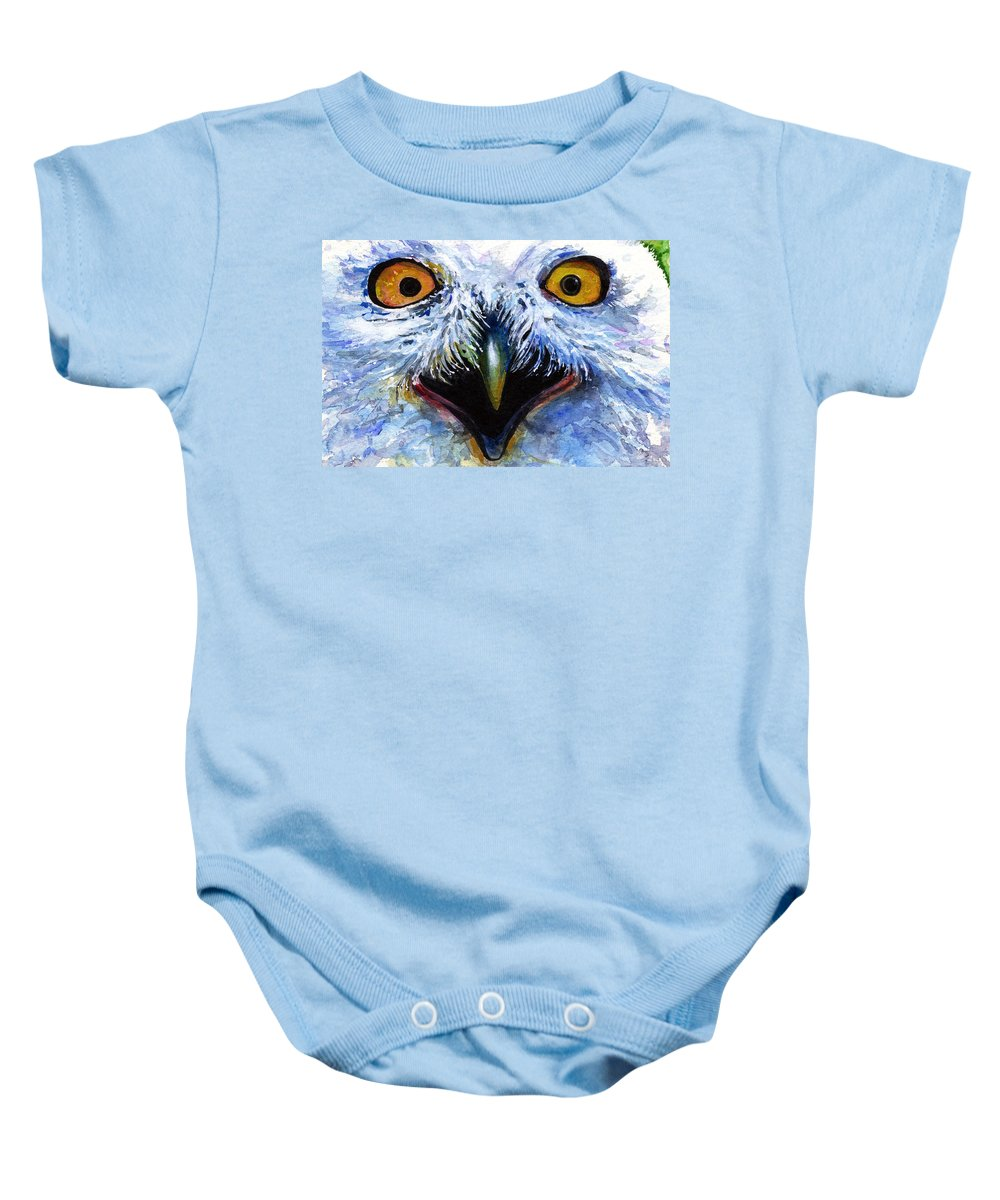 Eye Baby Onesie featuring the painting Eyes Of Owls No. 15 by John D Benson