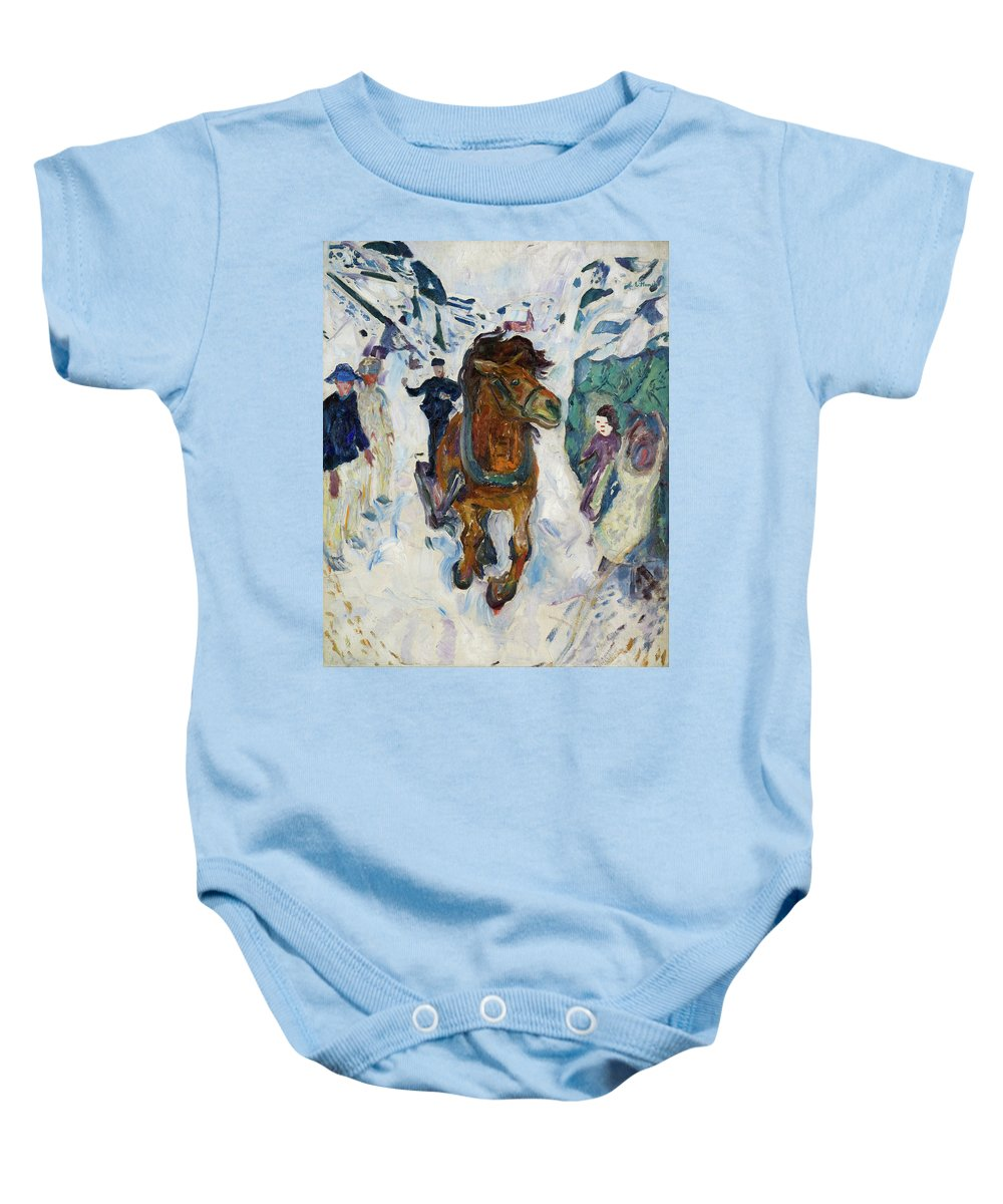 Edvard Munch Baby Onesie featuring the painting Galloping Horse by Edvard Munch