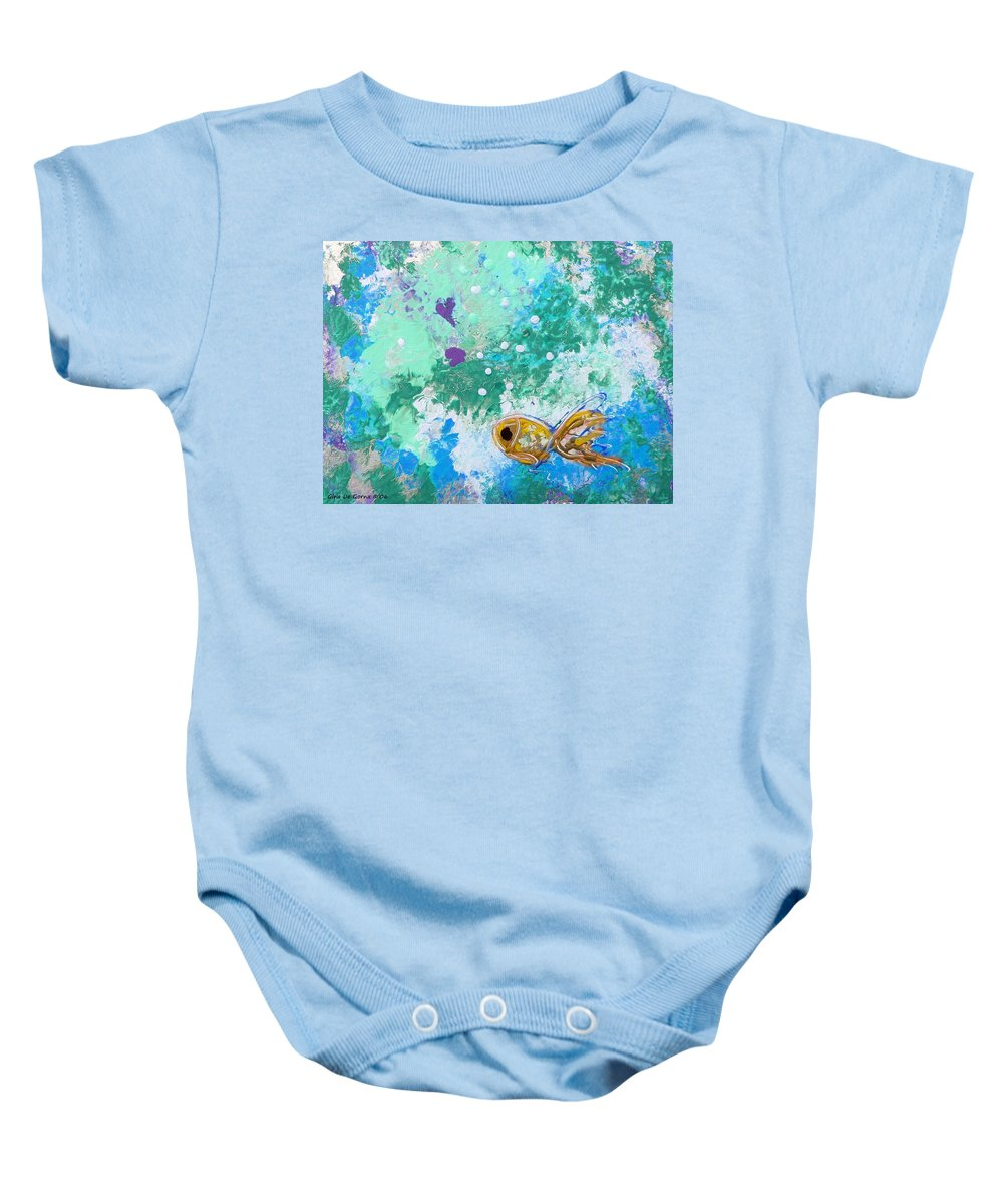 Fish Baby Onesie featuring the painting 1 Gold Fish by Gina De Gorna