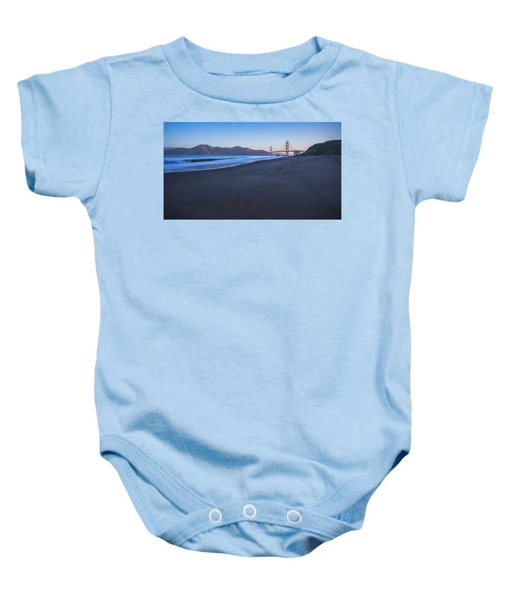 Golden Baby Onesie featuring the photograph Golden Gate Bridge And Pacific Ocean Early Morning by Alex Grichenko