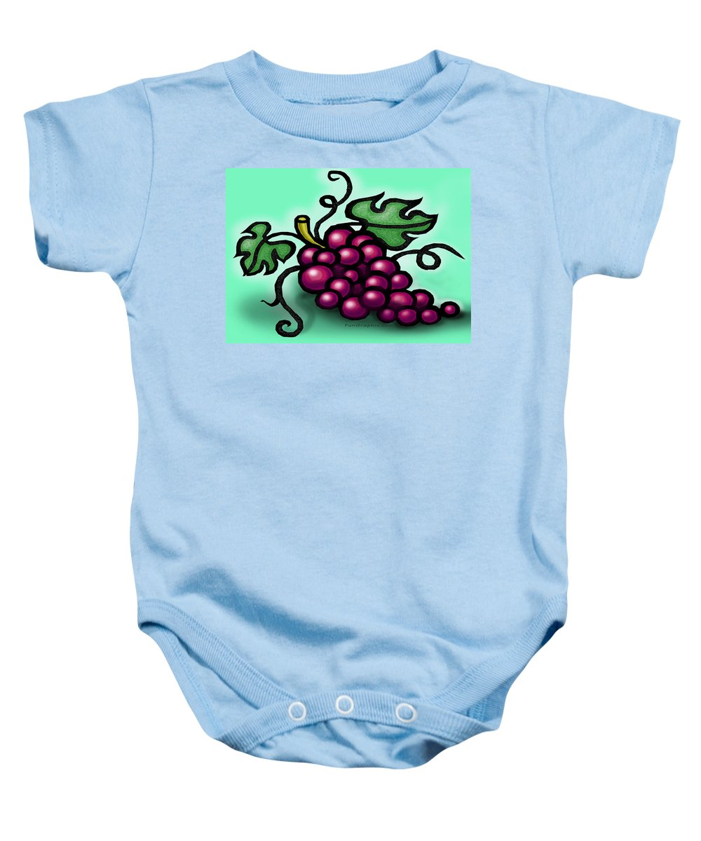 Grape Baby Onesie featuring the greeting card Grapes by Kevin Middleton