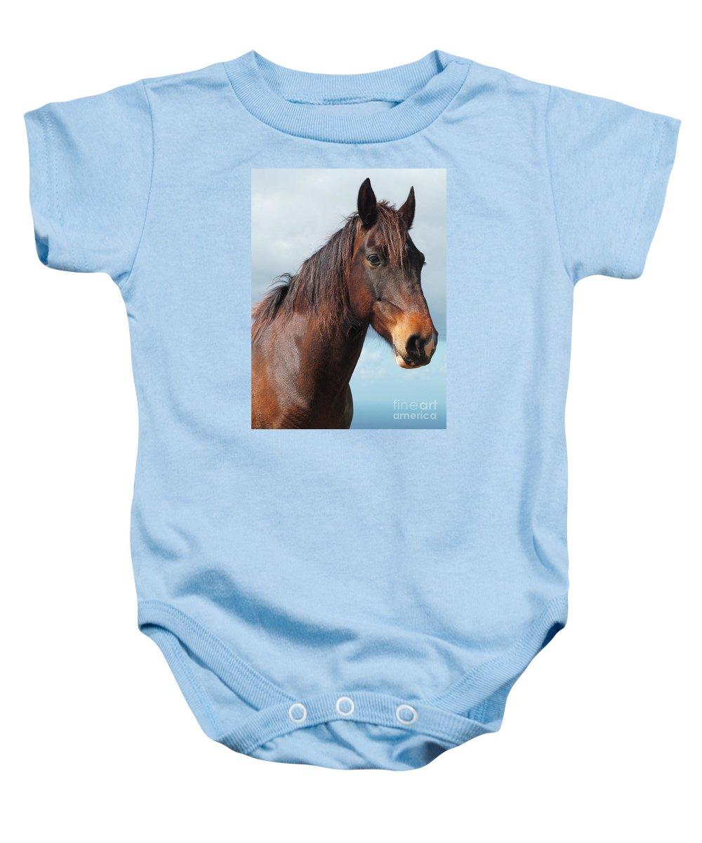 Horse Baby Onesie featuring the photograph Horse Portrait by Gaspar Avila