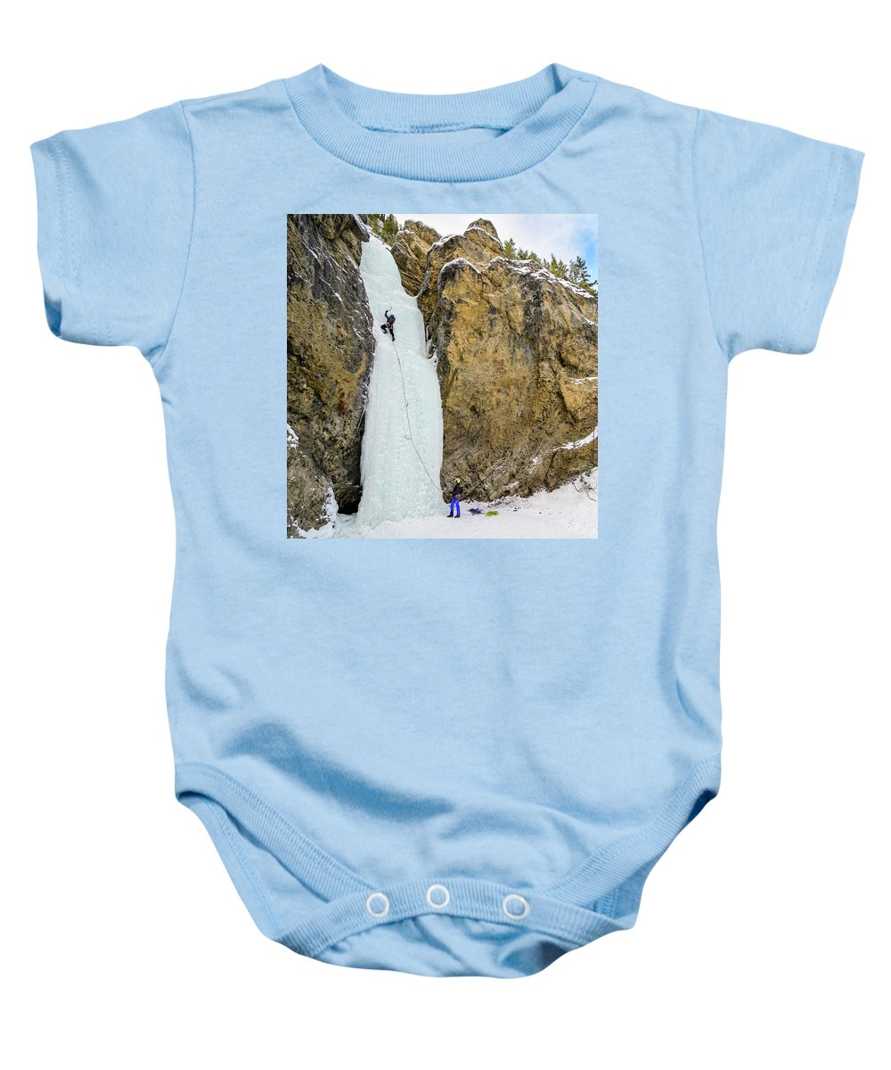 Canada Baby Onesie featuring the photograph Ice Climbers On A Route Called Professor Falls Rated Wi4 In Banf by Elijah Weber