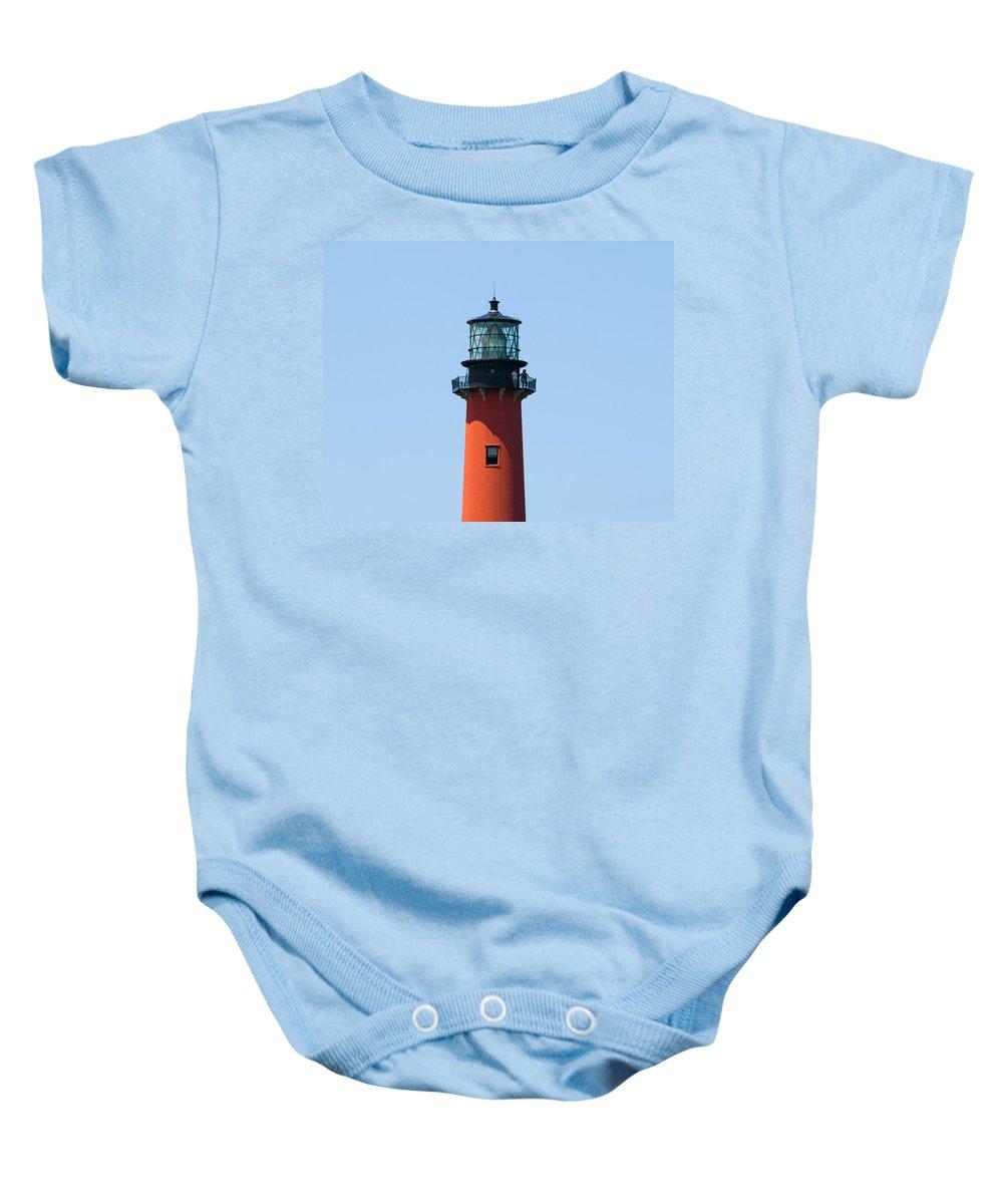 Florida; Juptier; Inlet; Loxahatchee; River; Atlantic; Coast; Shore; Beach; Light; Lighthouse; Beaco Baby Onesie featuring the photograph Jupiter Florida by Allan Hughes