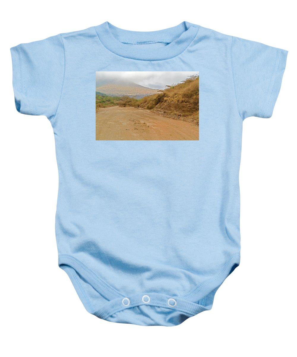 Road Baby Onesie featuring the photograph Landscape Near Marsabit, Kenya by Marek Poplawski