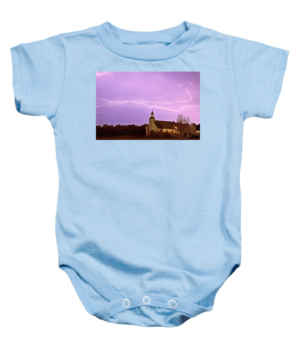 Old Baby Onesie featuring the digital art Lightning Bolts Over Spring Valley Country Church by Mark Duffy