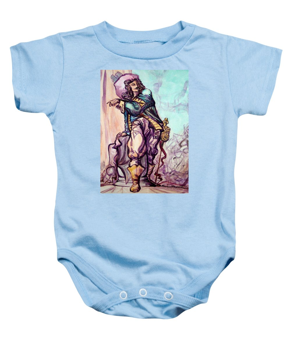 Musketeer Baby Onesie featuring the painting Musketeer by Kevin Middleton