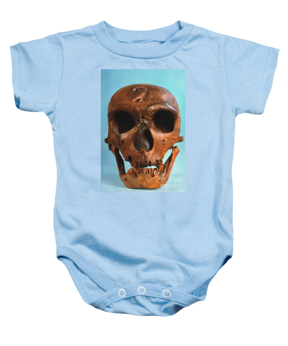 Ancient Baby Onesie featuring the photograph Neanderthal Skull by Granger