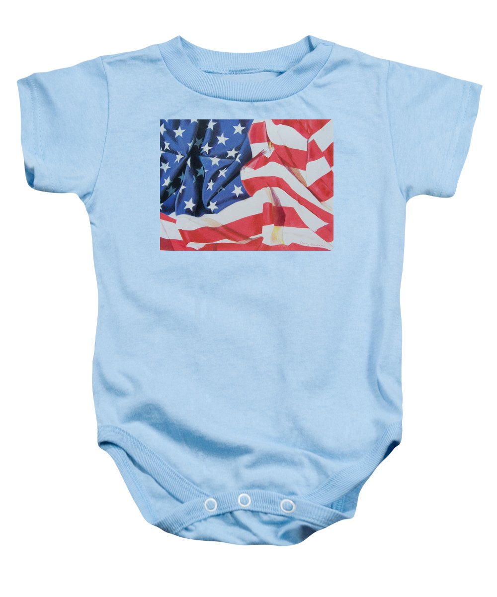 Flag Baby Onesie featuring the mixed media Old Glory by Constance Drescher