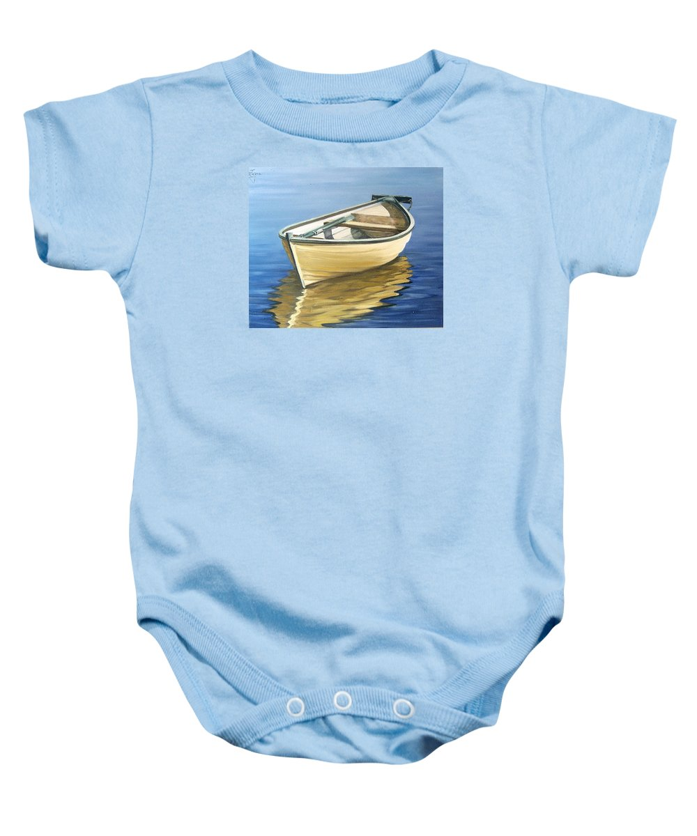 Still Life Baby Onesie featuring the painting Calm by Natalia Tejera