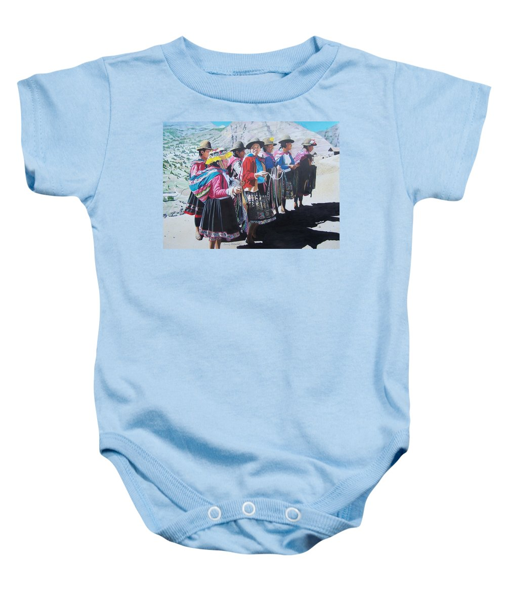 Outdoors Baby Onesie featuring the mixed media Peruvian Ladies by Constance Drescher